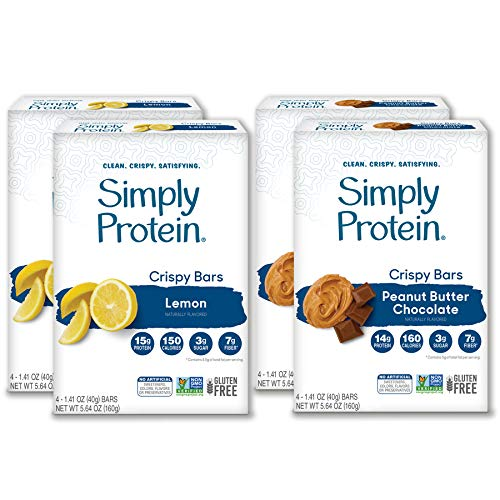 SimplyProtein Crispy Bar Singles. Clean and Light Crispy Bars with Plant Based Protein. (16 Pack, Peanut Butter Chocolate & Lemon)