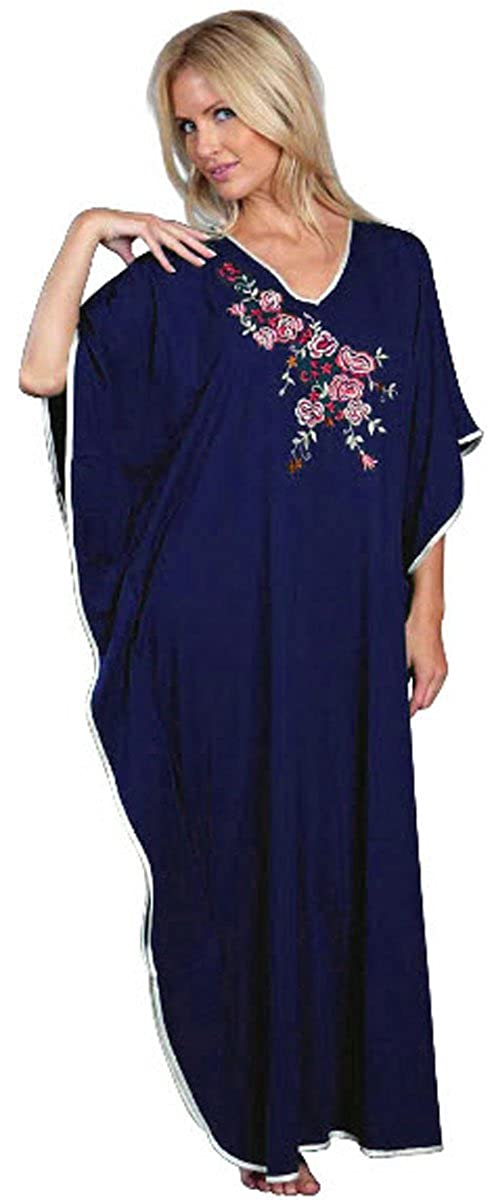 Ladies Freesize Kaftan Embroidered Long Length One Size Floral Pattern Dark Blue Style: - 9985 9984