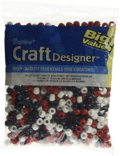 Darice Pony Beads 6 by 9mm 720/Pkg, Usa-Red/White/Blue
