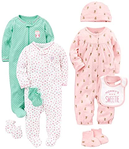Simple Joys by Carter's Girls' 8-Piece Footed Take Me Home Set, Pink/Mint, 0-3 Months - Infant Footed Sleepwear
