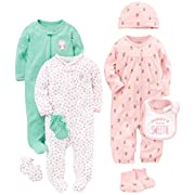 Simple Joys by Carter's Girls' 8-Piece Footed Take Me Home Set, Pink/Mint, 0-3 Months