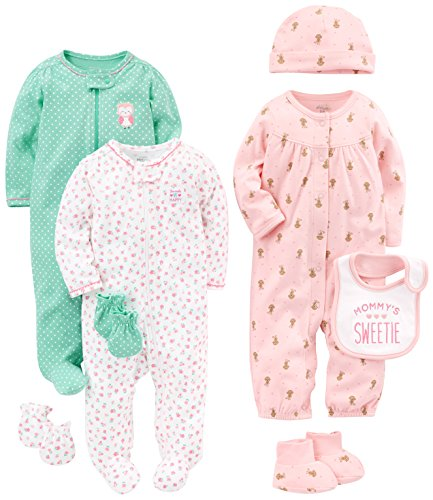 Simple Joys by Carter's Baby Girls' 8-Piece Footed Take Me Home Set, Pink/Mint, 3-6 Months