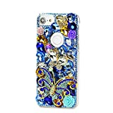 STENES Google Pixel 2 Case - Stylish - 100+ Bling Crystal - 3D Handmade Butterfly Rose Flowers Design Protective Case Google Pixel 2 - Blue