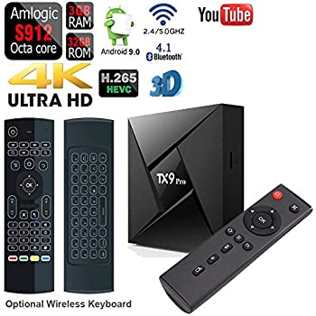 GiMiBOX TX9 Pro Android 7.1.2 TV Box with 3GB DDR3 RAM 32GB ROM Bluetooth Amlogic S912 Octa Core A53 Processor 64 Bits Bluetooth Real 4K Playing /& Updated with Wireless Mini Keyboard