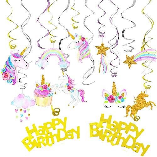 Unicorn Hanging Swirl - 34 Ct Unicorn Birthday Party Supplies Decorations Halloween