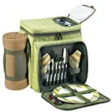 Picnic at Ascot Insulated Picnic Basket/Cooler Fully Equipped for 2 with Blanket -  Olive Tweed