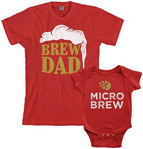 (Threadrock Brew Dad & Micro Brew Infant Bodysuit & Men's T-Shirt Matching Set (Baby: 6M, Red|Men's: 2XL, Red))