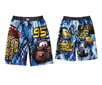 7d25b778d5b44 Image Unavailable. Image not available for. Color: Disney Cars Lightning  Mcqueen Tow Mater Swim Trunks ...
