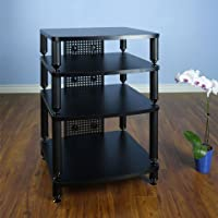 VTI Manufacturing 34444 4 Black Poles 4 Black Shelf Professional Rack