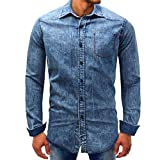 Clearance Men Denim Long Sleeve Tops vermers Mens Beefy Button Basic Solid Blouse Tee Shirt Tops(M, Blue)