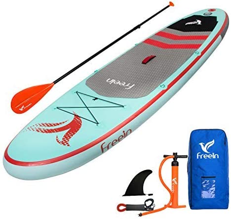 Freein Stand Up Inflatable Paddleboard – SUP 10 Long, 33 Wide, 6 Thick – Floating Paddle, Backpack, Leash, Pump