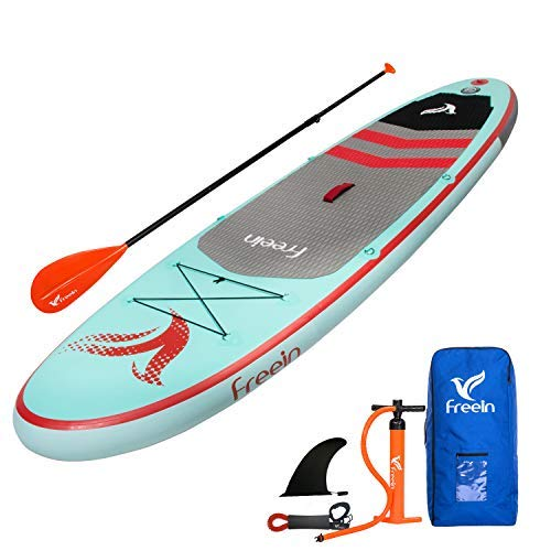 "Freein Stand Up Inflatable Paddleboard - SUP 10' Long, 33"" Wide, 6"" Thick - Floating Paddle, Backpack, Leash, Pump"