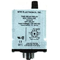 NTE Electronics R32-11A10-120M Series R32 Adjustable Slow Release Time Delay Relay, AC Operated, DPDT, 3.0 to 300 Second Range, 10 Amp, 11 Pin, 120VAC