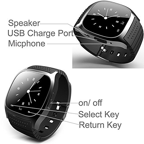 Bluetooth Smart Watch Touch Screen Wristwatch for Android Smartphones