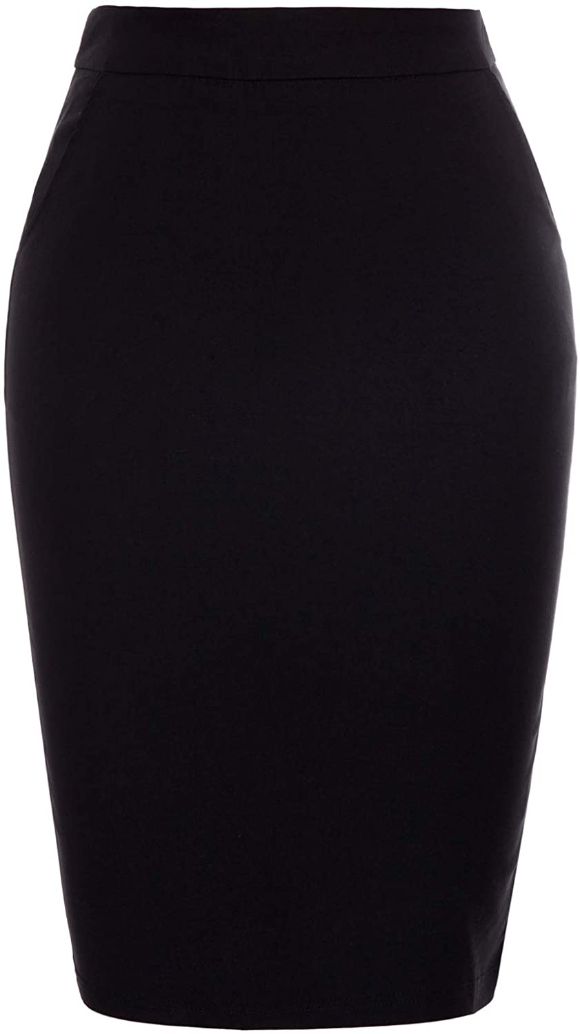 Kate Kasin Womens Knee Length Elastic Waist Stretchy Bodycon Business Pencil Skirt