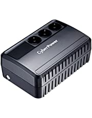 CyberPower BU650E USV 650VA/360W Línea interactiva, Compacto Negro Sistema de Alimentación Ininterrumpida (UPS) - Fuente de Alimentación Continua (UPS) (Línea interactiva, Tipo F (Schuko), Compacto, Sealed Lead Acid (VRLA), 0 - 40 °C, 45/65)