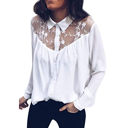 4ecd65297 Image Unavailable. Image not available for. Color: shusuen Women's Lapel  Long Sleeve Lace Panel Stitching Button Chiffon Shirt Top