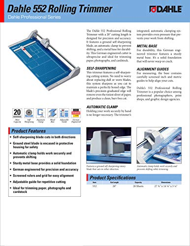 """Dahle 552 Professional Rolling Trimmer 20"""" Cut Length 20 Sheet Capacity Self-Sharpening Automatic Clamp German Engineered Paper Cutter"""