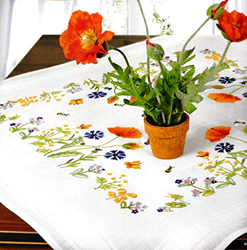 Printed Stamped Cross Stitch Tablecloth Kit for Embroidery (Wild Flowers 6926)
