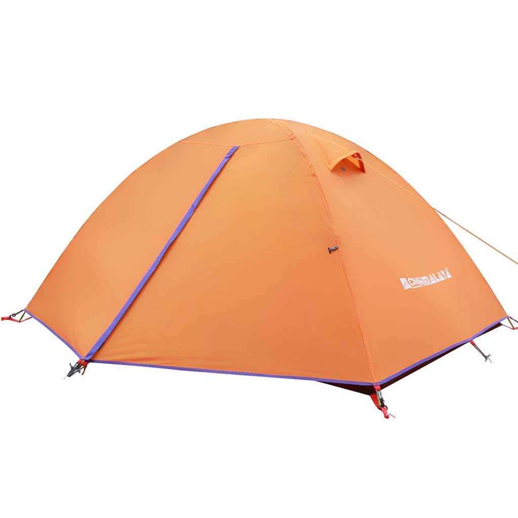 テントアウトドア2人防水キャンプファミリーダブルレイヤーガラス繊維ロッドフォーシーズンズテントキャンプ  オレンジ B07P185CH9