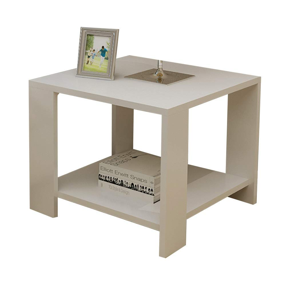 404042cm Coffee Table Coffee Table, Lightweight Sofa Side Table Double Layer Open Storage Snack Table Multifunction Shelf Solid Wood Mini Telephone Table (Size   40  40  42cm)