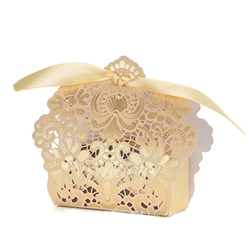 50 Pack Luxury Laser Cut Champagne Gold Lace Floral Wedding Favour Box with Ivory Ribbon Candy Chocolate Box Birthday Baby Shower Wedding Gift Wrap -