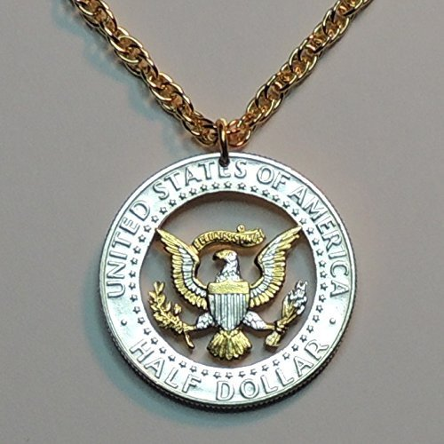 U.S. Kennedy Eagle ½ Dollar - Beautifully Hand Cut out & 2-toned(Uniquely Hand done) Gold on Silver coin Necklaces for women men girls girlfriend boys teen girls (Out Pendant Eagle Cut)