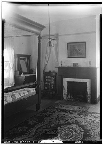 8 x 12 Photo 18. Historic American Buildings Survey Alex Bush, Photographer, December 30, 1934. Bedroom Fireplace 2D Floor - Thornhill Plantation, County Road 19, Forkland, Greene County 1876 74a by Vintography