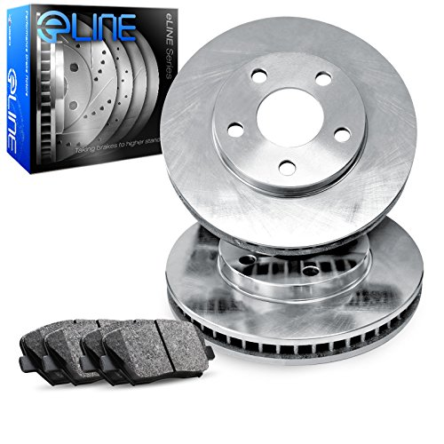 For 1993 Toyota T100 Front eLine Plain Brake Rotors + Ceramic Brake Pads