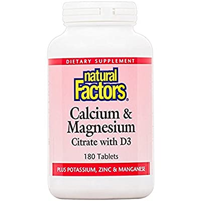 Natural Factors - Calcium (250mg) and Magnesium (250mg) Citrate with D - With Potassium, Zinc & Manganese