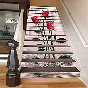 Vinilos Escaleras 13 Unids/Set Pvc Personalidad 3D Pegatinas De Escalera Pegatinas Autoadhesivas Escalera Pegatinas De Pared Pegatinas Decorativas Pegatinas De Pared Impermeable Rosa: Amazon.es: Bricolaje y herramientas