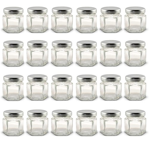 1.5 oz Hexagon Mini Glass Jars with Silver Lids and Labels (Pack of