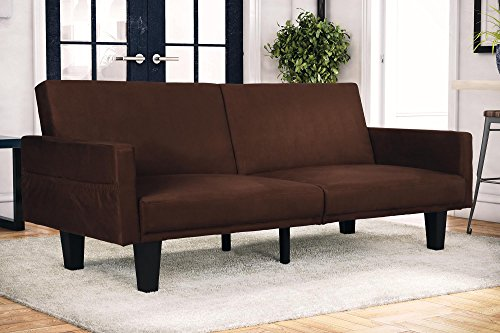 DHP Metro Modern Splitback Futon Couch with Storage Pockets, Microfiber Upholstery, Multifunctional – Brown