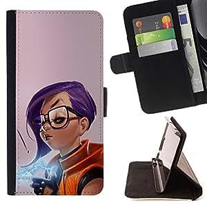 KingStore / Leather Etui en cuir / Samsung Galaxy S3 MINI 8190 / Chica púrpura del pelo