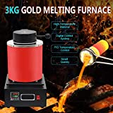 TOAUTO 3KG Gold Melting Furnace,1400W 2000F Digital Automatic Melting Furnace with Graphite Crucible for Melt Scrap, Silver, Gold, Copper, Aluminum 110V Refining Casting Furnace