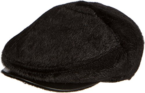 - Sakkas 16159 - Faux Mink Fur Back Flap Ivy Driving Newsboy Cap Hat Adjustable Snap Front - Black - L