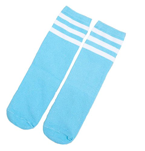 Ewandastore 1 Pair Cotton Over Knee Long Soccer Socks,Breathable Team School Socks for 4-10 Years old Kids Girls Boys Toddlers(Light Blue -