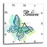 3dRose dpp_51343_1 Believe Aqua Butterfly Art Inspirational Words Wall Clock, 10 by 10-Inch For Sale