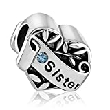 JMQJewelry Sister Charms Heart I Love You March