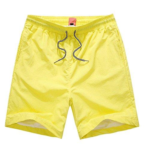 Basic Giallo Libero Donna Spiaggia Estate Pantaloncini Sport Uomo Pantaloncini Shorts Elasticizzati Unisex Pantaloni ShallGood Tempo aqURX