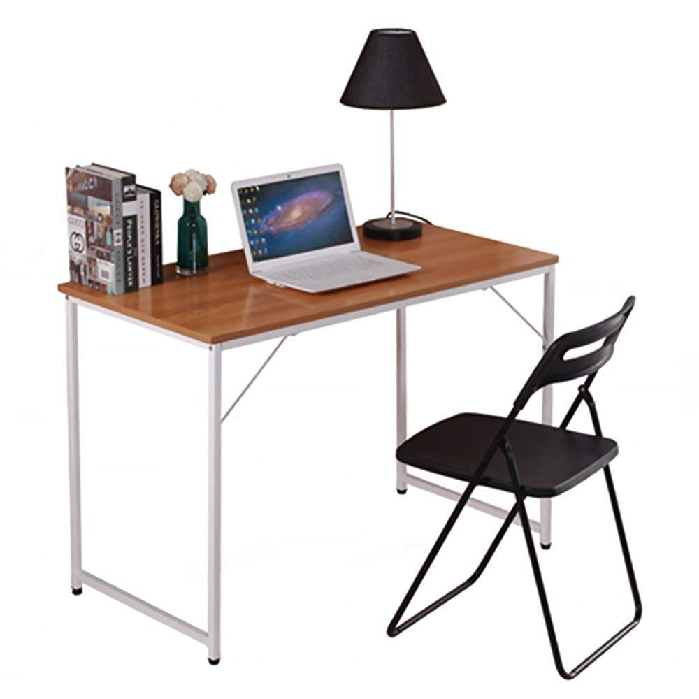 Huisenuk I Shape Office Black Computer Desk Table Long Home Simple Study Writing Desk for Small Space 47