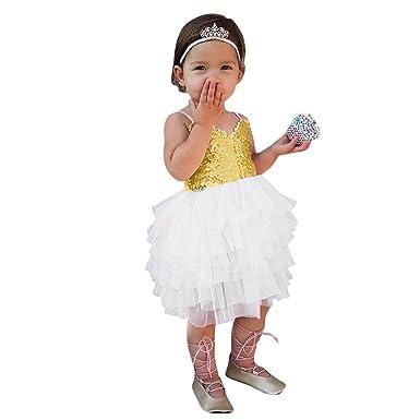 Ursing Kinder Baby Mädchen Spitze Ärmellos Sommerkleid Pailletten ...