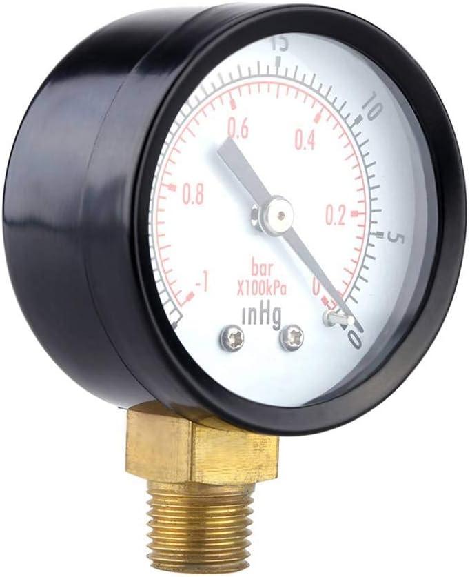Sunlera 0-30inHg 0-1bar Jauge Mini cadran pression Mini manom/ètre /à compteur vide Double manom/ètre Balance pression dair Outil de mesure Sunlera