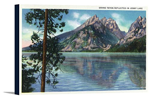 Grand Teton National Park, Wyoming - View of Grand Teton Reflected in Jenny Lake (18x11 1/2 Gallery Wrapped Stretched Canvas) - Jenny Grand Lake