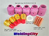 WeldingCity Accessory Kit Cup-Gas Lens-Collet-Gasket 040-1/16-3/32-1/8 for TIG Welding Torch 9, 20 & 25 TAK32 by WeldingCity
