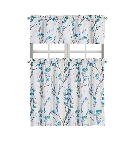 Regal Home Collections Misaki Floral Complete Kitchen Curtain Tier & Valance Set - Assorted Colors (Blue)
