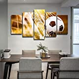 Canvas Art Soccer Match Net Painting Wall Pictures for Living Room Modern Home Decor Stretched and Framed Ready to Hang