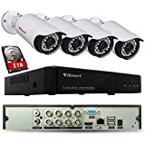iSmart 8 Channel 960P HDMI AHD DVR HVR NVR 3-in-1 Security System including 4 1200TVL Waterproof Bullet Surveillance Camera with 27 IR Leds Night Vision Up to 80ft Smart Phone Remote Viewing