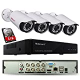 iSmart 8 Channel Lite 1080N 5-in-1 Hybrid DVR Security System with 1TB HDD (AHD TVI CVI NVR with 4 720p Outdoor Bullet Camera), Night Vision 80ft, Smartphone Remote Viewing