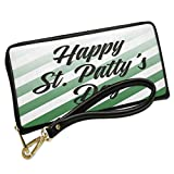 Wallet Clutch Happy St. Patty's Day St. Patrick's Day Fading Green Stripes with Removable Wristlet Strap Neonblond